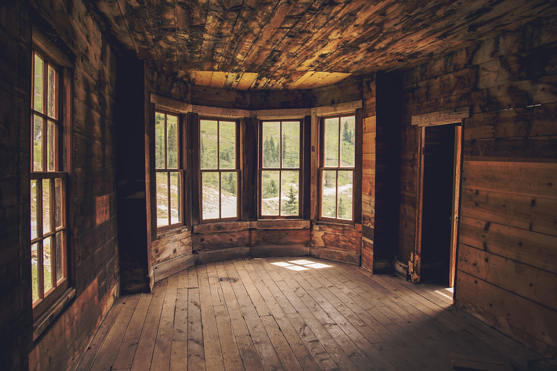 """Inside the famous William Duncan House, AKA """"The Bay Window House"""" at Animas Forks"""