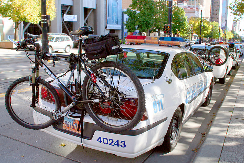 Cly took a walk from Temple Square to the Little America hotel one day and noticed that all the cop cars in front of the Police HQ had bike racks with bikes.