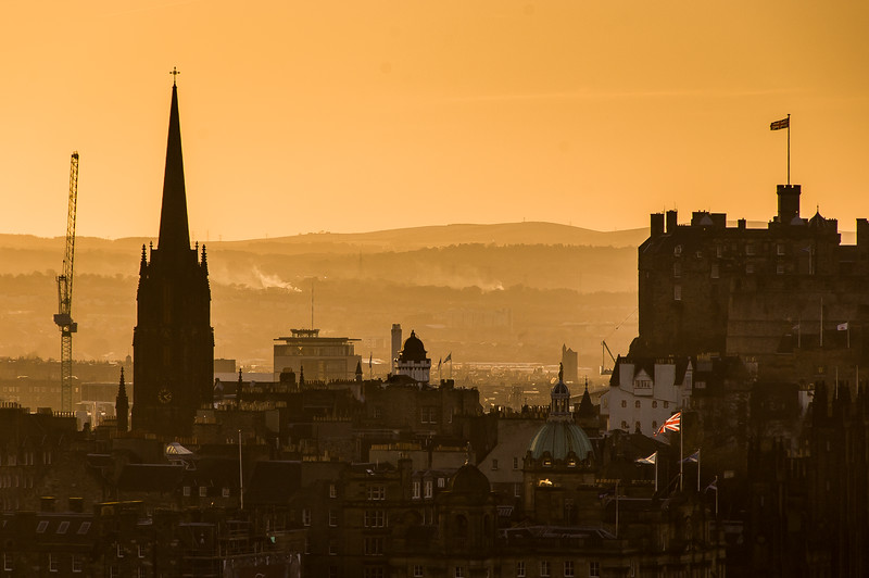 Edinburgh Old Town and Castle sunset