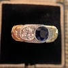 1.55ctw Old Mine Cut and Sapphire Gypsy Ring, GIA 12