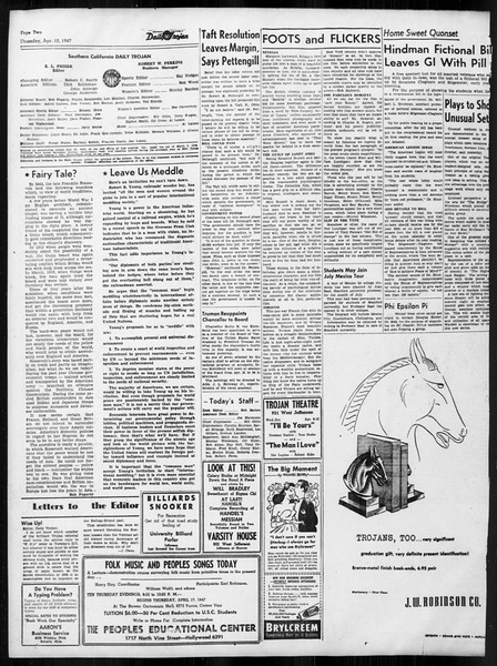 Daily Trojan, Vol. 38, No. 111, April 10, 1947