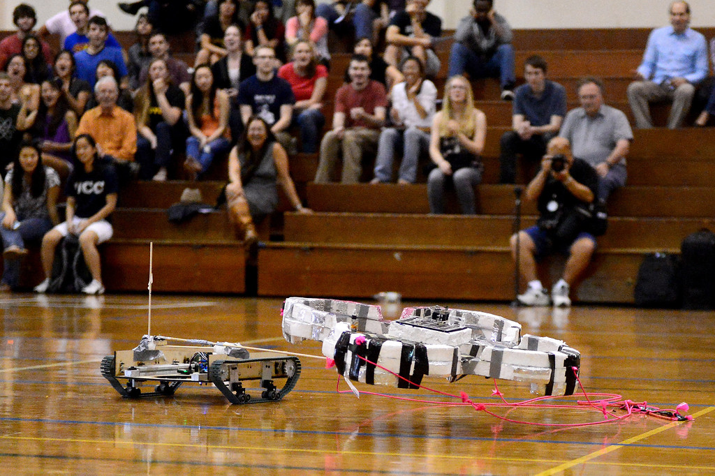 """. Teams of mechanical engineering Caltech students compete in the annual ME72 Engineering Design Contest at the Pasadena campus Tuesday, March 11, 2014. The goal in \""""Raiders of the Lost Can\"""" was to move their team\'s can closest to the center of a platform. (Photo by Sarah Reingewirtz/Pasadena Star-News)"""