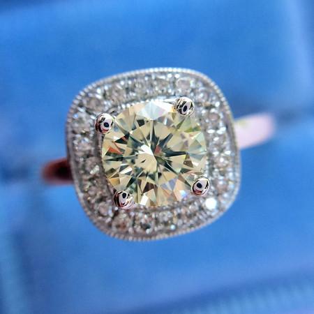 .55ct Light Yellow Round Brilliant Diamond Halo Ring