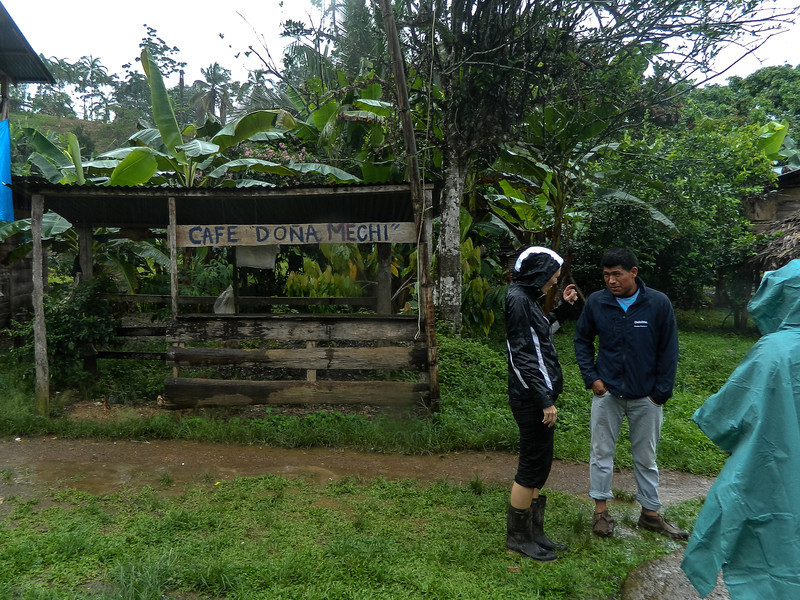 Heh. My dad liked this sign, and I am using the chance to ask some final questions of Arnoldo before we leave Silico Creek, Panama.