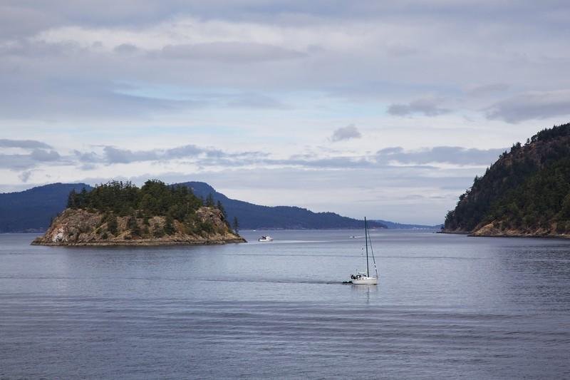 Sailboat under power. San Juan Islands, Washington.