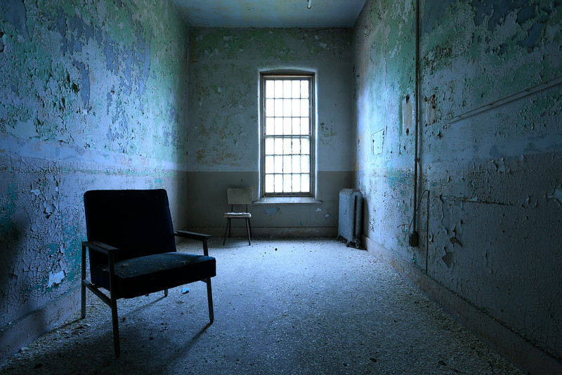 Straight-out-of-camera shot of a patient room during nautical twilight at Willard State Hospital.