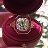3.12ct Old European Cut Diamond Ruby Halo Ring, GIA L  20