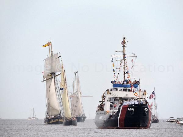 2016 0818: USCGC SUNDEW Escorts Tall Ships into Harbor