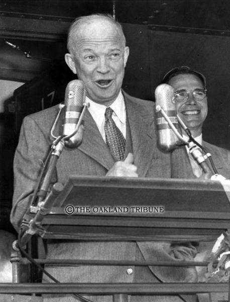 . Martinez, CA October 9, 1952 - Dwight Eisenhower delivers a speech. (Oakland Tribune Staff Archives)