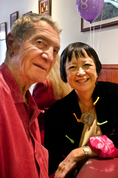 Ron Hildebrand and wife Syndi Seid at Henry Him 80th birthday party at Dong Bei Mama Restaurant