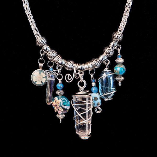 Silver Wire Viking Knit Charm Style Necklace with Wire Wrapped Quartz Crystal, Water Colored Beads, Cloisonné Sand Dollar