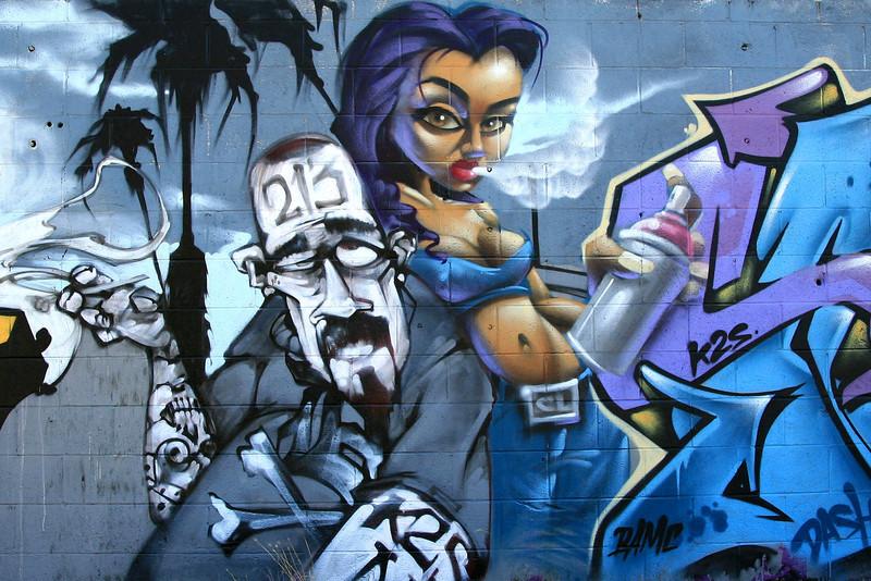 Graffiti art work in Central Los Angeles.