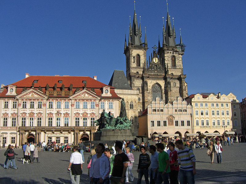 East side of Town Square, Jan Hus monument, Tyn church.