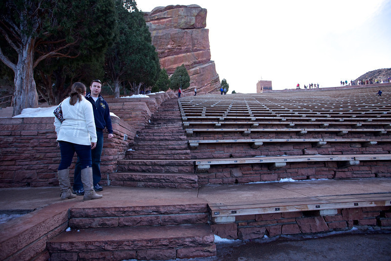 At Red Rocks amphitheater where outdoor concerts are held every summer.