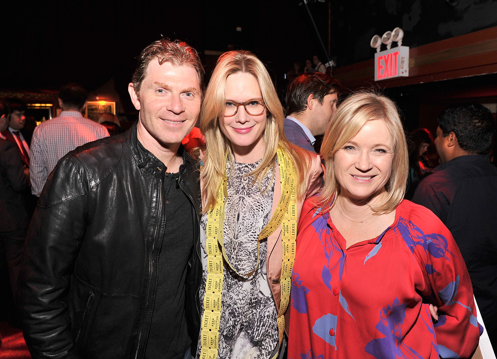 . Chef Bobby Flay, actress Stephanie March, and Tracy McCubbin attend the OneKid OneWorld Hosts A Night Of Comedy at Gramercy Theatre on October 22, 2013 in New York City.  (Photo by Stephen Lovekin/Getty Images for OneKid OneWorld)