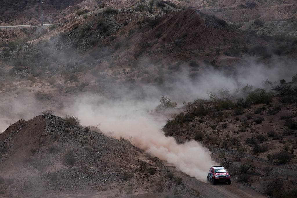 . Toyota driver Leeroy Poulter and co-pilot Robert Howie, both of South Africa, race during the third stage of the Dakar Rally 2015 between the cities of San Juan and Chilecito, Argentina, Tuesday, Jan. 6, 2015. (AP Photo/Felipe Dana)