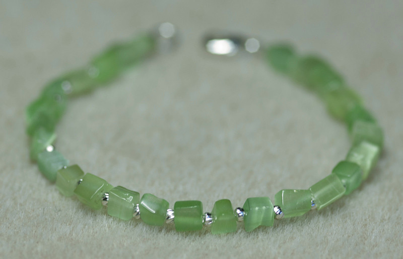 Green Cats Eye Chunks with Tiny Silver Beads