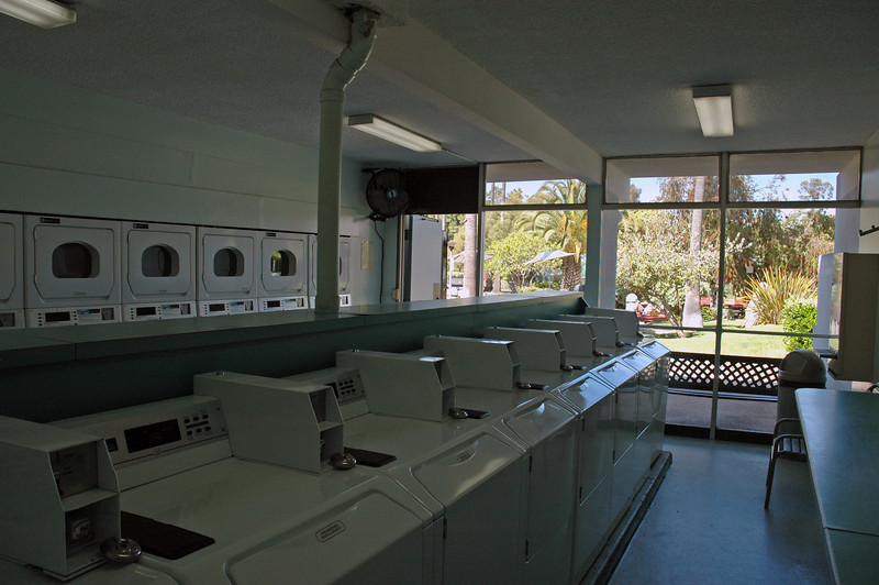 On-site laundry with a view of the interior of the complex...