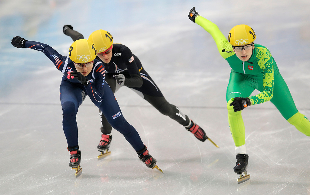 . Park Seung-hi of South Korea, left, Emily Scott of the United States, centre, and Agne Sereikaite of Lithuania compete in a women\'s 500m short track speedskating heat at the Iceberg Skating Palace during the 2014 Winter Olympics, Monday, Feb. 10, 2014, in Sochi, Russia. (AP Photo/Vadim Ghirda)