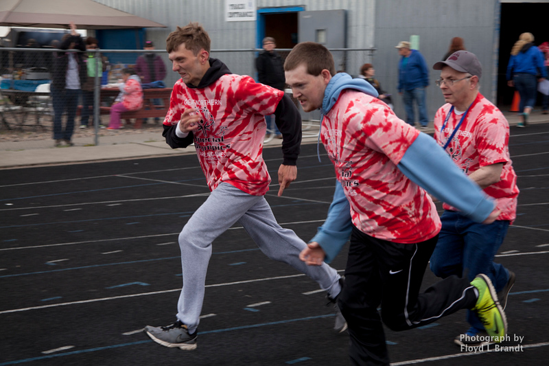 Havre Daily News/Floyd BrandtSpecial Olympics 'Great Northern Area Games' held at Havre Middle School Wednesday. Athletes from North Central Montana competed in events preparing for the upcoming state wide games in Missoula starting May 16. (left) Lance Seeley, Justin Konesky and charles Fry in the 100 meter mens race
