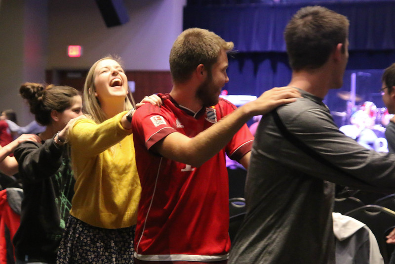 """At the start of the CMU Fall Retreat on Friday night, September 25th, students played the game """"Mingle"""" in order to meet and connect with new people."""