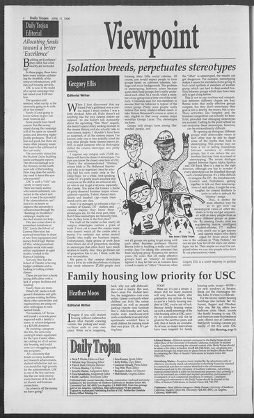 Daily Trojan, Vol. 127, No. 56, April 11, 1996