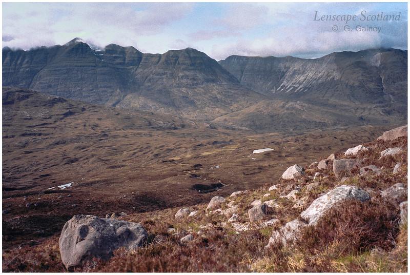 Liathach & Beinn Eighe from Sgorr nan Lochan Uaine (scanned from a 1999 slide)