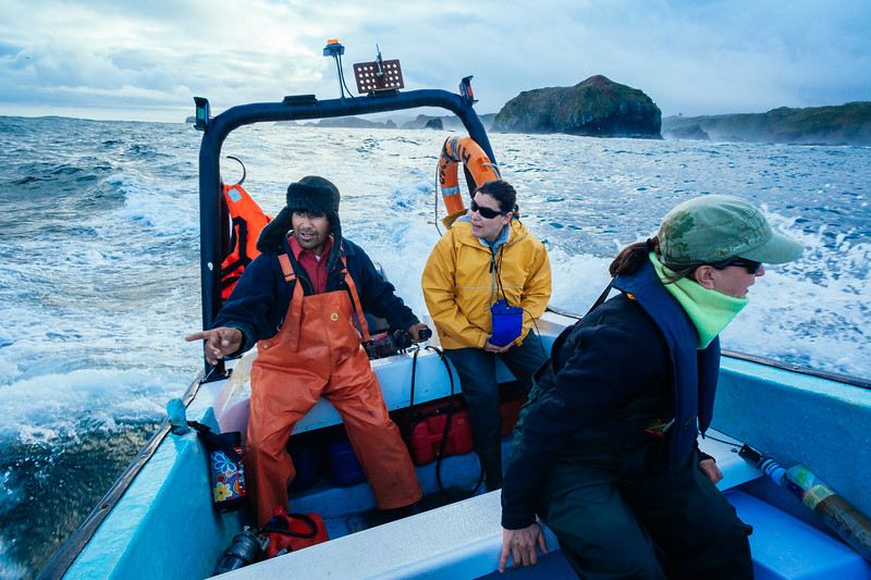 Jose Aviles, Barbara Galletti, and Elsa Cabrera (from left to right) ride the 7 meter long Alfaguara along the coast of Isla Grande de Chiloé while looking for signs of whales.
