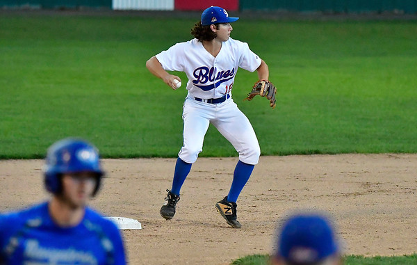 8/8/2019 Mike Orazzi | Staff The Bristol Blues' Zeke Diamond (18) turns two during Thursday evenings playoff game with the North Shore Navigators at Muzzy Field in Bristol.