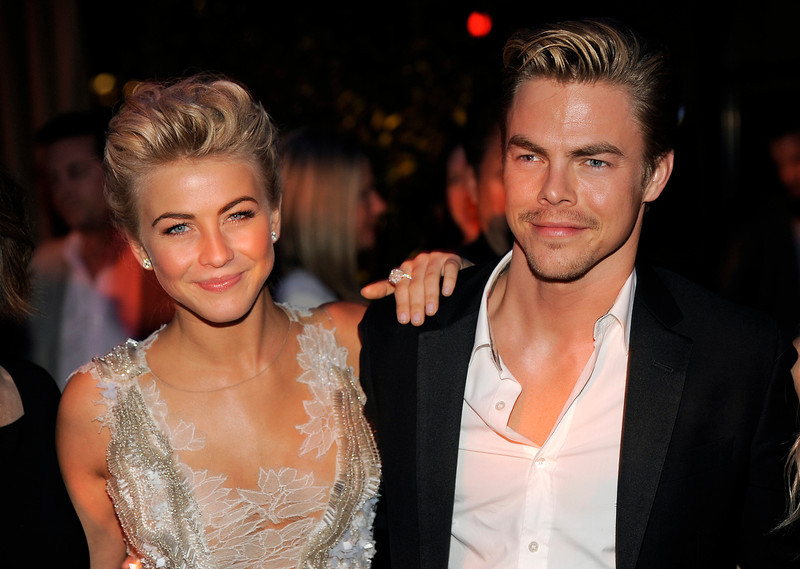 """. Julianne Hough, left, a cast member in \""""Safe Haven,\"""" poses with her brother, dancer Derek Hough, at the post-premiere party for the film, Tuesday, Feb. 5, 2013, in the Hollywood section of Los Angeles. (Photo by Chris Pizzello/Invision/AP)"""