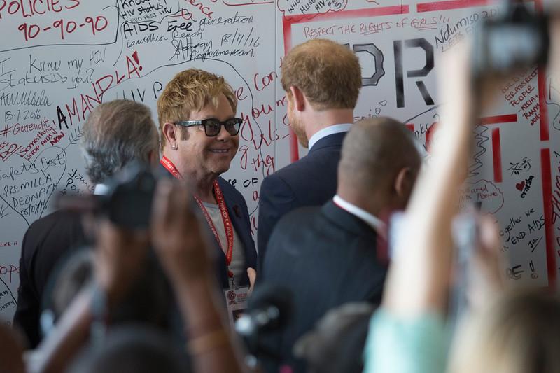 21st International AIDS Conference (AIDS 2016), Durban, South Africa. Prince Harry Walk Prince Harry and Elton John, 21 July, 2016. Photo©International AIDS Society/Rogan Ward