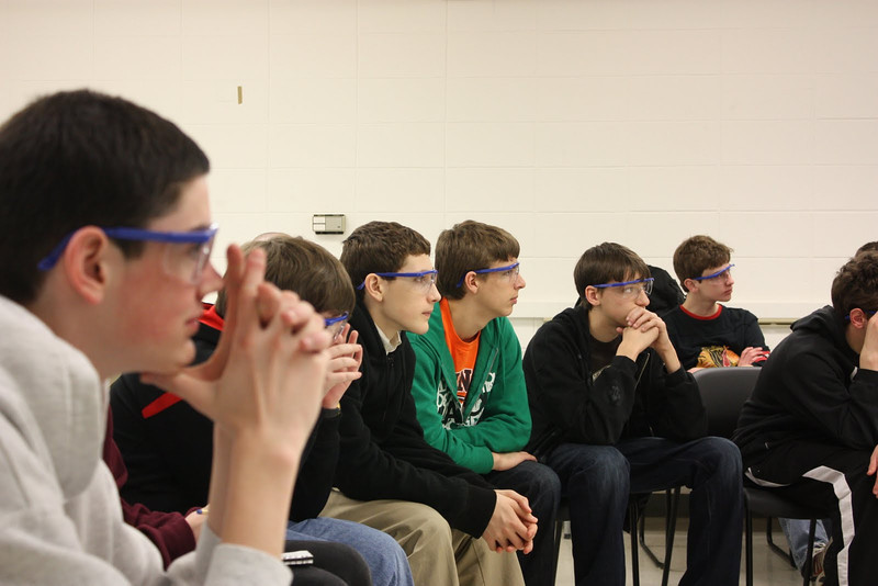 8th graders entralled by the science of it all.