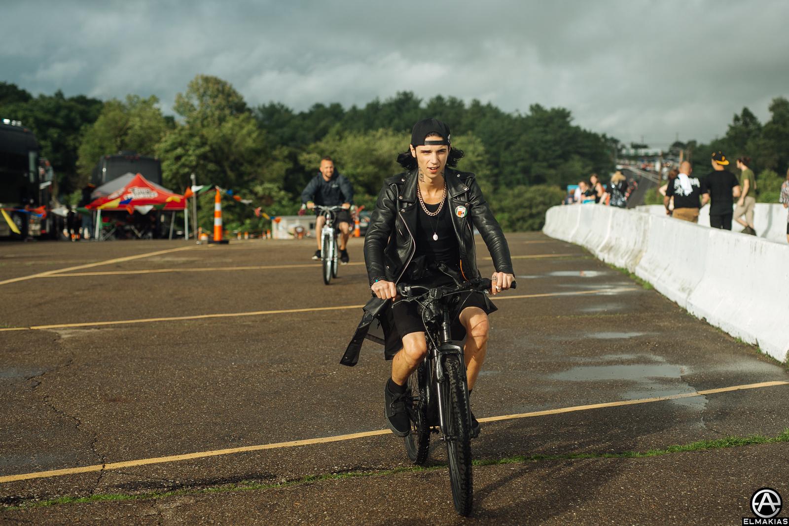 Andy Biersack on a bike by Adam Elmakias