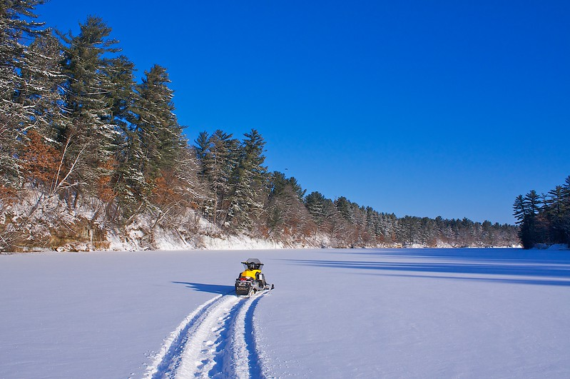 Black River Ice Crossing... Look close for the Bald Eagle..