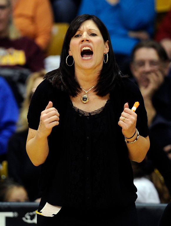 . BOULDER, CO. - MARCH 16: Pueblo South coach Shannan Lane screamed from the bench. The Pueblo South High School girl\'s basketball team defeated D\'Evelyn 66-42 in the 4A championship game Saturday, March 16, 2013 at the Coors Events Center in Boulder.  (Photo By Karl Gehring/The Denver Post)
