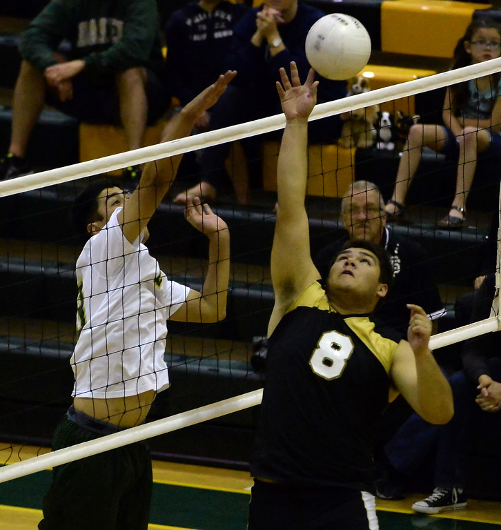 . Santa Fe\'s Antonio Gurrero (8) returns a shot against Damien in the second game of a prep volleyball match at Damien High School in La Verne, Calif., on Wednesday, May 20, 2015. Damien won 25-17, 25-19, 29-27. (Photo by Keith Birmingham/ Pasadena Star-News)