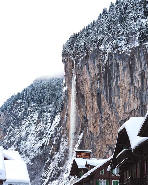 The Staubbach waterfall peeking from behind the town of Lauterbrunnen; Bernese region
