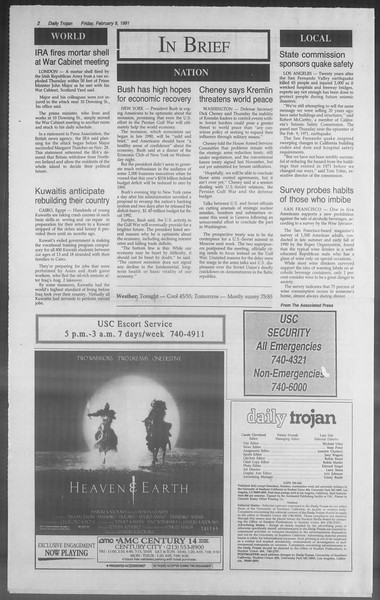 Daily Trojan, Vol. 114, No. 21, February 08, 1991
