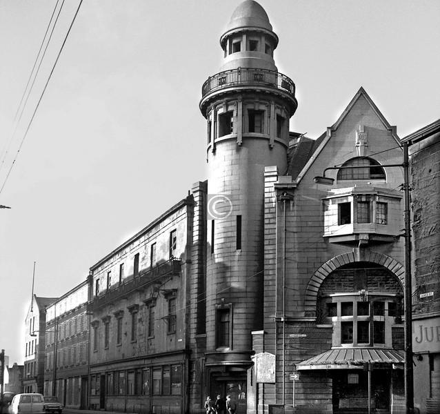 Landressy St at James St.   Methodist Central Hall (1926).    January 1974