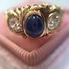 1.75ctw Cab Sapphire and Old European Cut Diamond 3-stone Ring 1