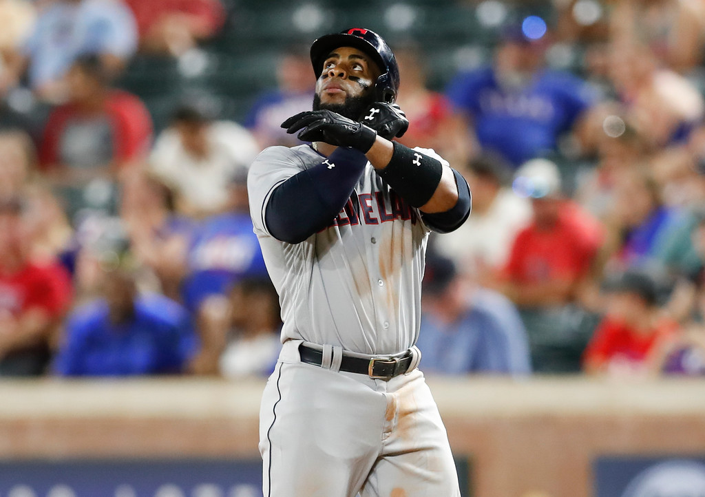 . Cleveland Indians\' Yandy Diaz celebrates his single against the Texas Rangers during the seventh inning of a baseball game, Friday, July 20, 2018, in Arlington, Texas. (AP Photo/Jim Cowsert)