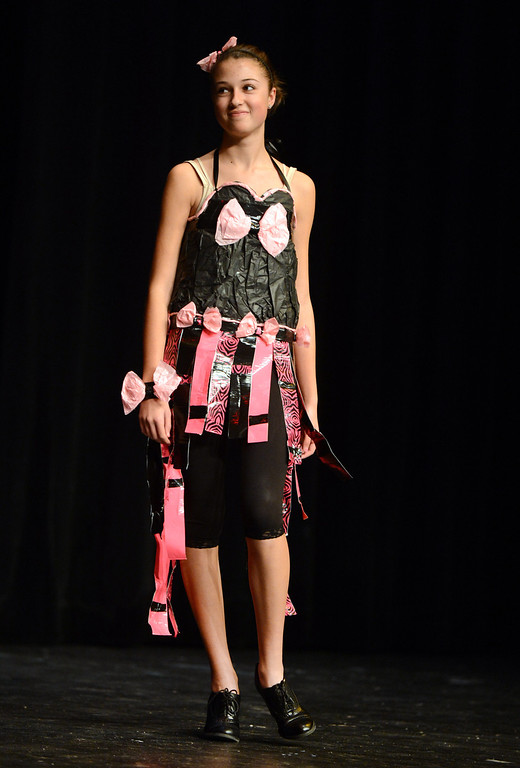 . Mariah Piepho models her creation at the third annual Paper Skirt Fashion Show held at Liberty High School in Brentwood, Calif.  on Tuesday, Jan. 29, 2013.  (Susan Tripp Pollard/Staff)