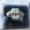 2.23ct Art Deco Emerald Cut and Turquoise Halo Ring 3