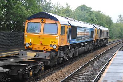 66717 + 66709 4Z70 0940 Doncaster Down Decoy Gbrf to Trafford Pk 14-9-15