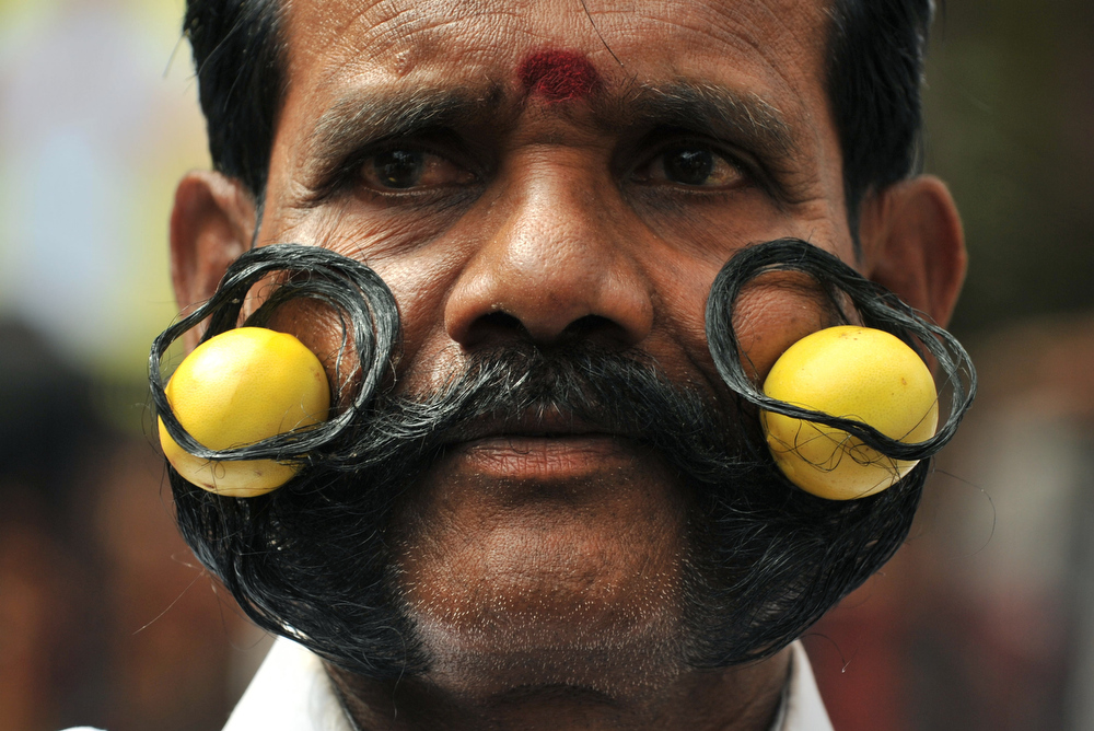 Description of . Indian Hindu devotee of goddess Mahankali, M.Ramadass holds two limes in his seven feet moustache as he poses during a Swarnalatha Rangam ceremony at The Sri Ujjaini Mahakali Temple in Secunderabad, the twin city of Hyderabad, on July 18, 2011.    Swarnalatha Rangam is a ritual where it is believed that the goddess Mahankali enters the body of an unmarried woman and predicts the future. AFP PHOTO/Noah SEELAM