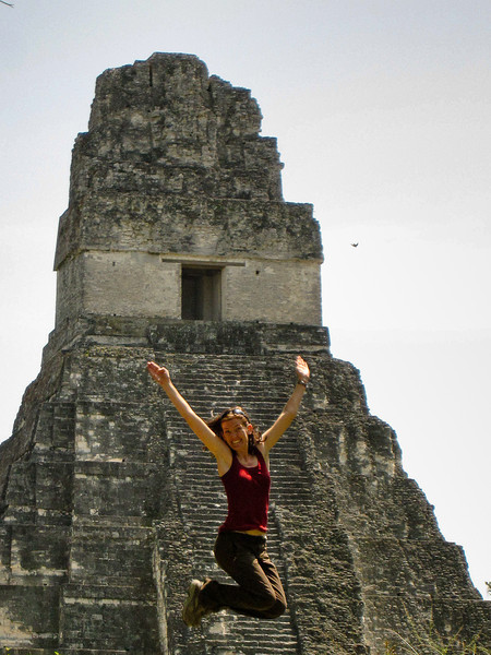 Jumping for joy in front of Jaguar Temple (Temple I).