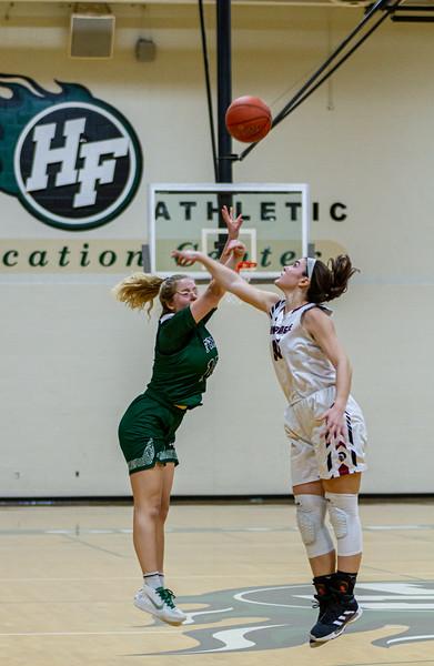 Holy Family Varsity Girls Basketball vs. New Prague, 1/24/20: Captain Grace Elander '20 (12)