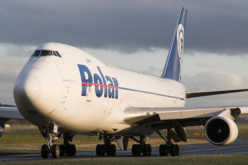 N451PA. Boeing 747-46NF/SCD. Polar Air Cargo. Prestwick 231207.