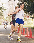 2001 UVic 5K - Peter Cardle leads Steve Osaduik at the turnaround