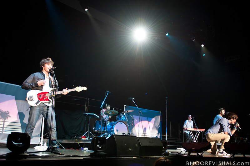 Cameron Michael Quiseng, Michael Allen Martinez, Dillon Collier Anderson, Nathan Sean Darmody, and Zachary David Porter of Allstar Weekend perform in support of the band's upcoming album All The Way in Clearwater, Florida on July 30, 2011